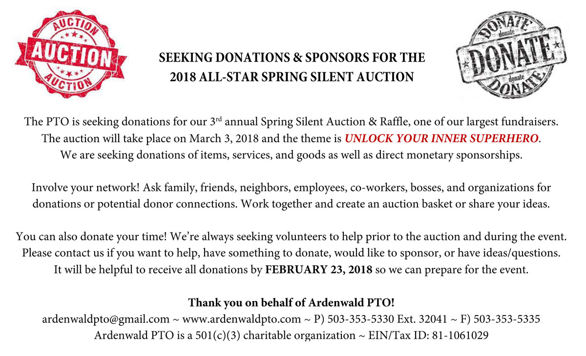 seeking auction donations – deadline 2/23/18 – ardenwald elementary pto
